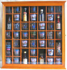 41 Shot Glass Display Case Rack Holder Wall Cabinet, Walnut Finish SC03-OA