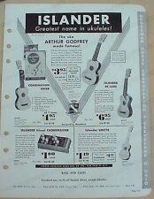 1953 ISLANDER UKULELES with Arthur Godfrey jobber catalog page - ukes & banjouke