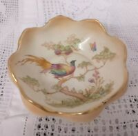 Vintage Crown Ducal Blush-ware dish decorated with Exotic Bird & flowers 4.5""