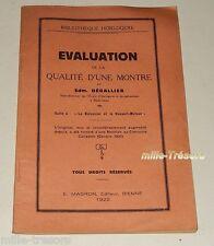 EVALUATION de la QUALITE d'une MONTRE par Edm. DEGALLIER -E. MAGRON Editeur 1922