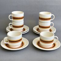 Vtg PEDERNAL Coffee Cups & Saucers Set Ceramic Made In Colombia Home Tableware