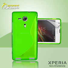 Green S Curve Gel Case+ Free SP for Sony XPERIA SP M35h Jelly Tpu soft cover