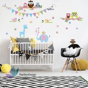Party/Birthday Flag Giraffe/Elephant/Owl/Bird Nursery Baby Wall Decal Sticker