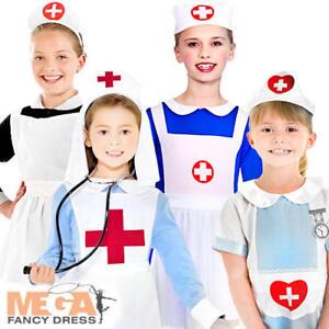 Girls Nurse Fancy Dress Childrens Kids Costume Hospital Uniform Childs Outfit