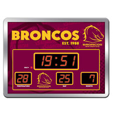 Brisbane Broncos NRL Glass SCOREBOARD LED Clock Date Time Temp Man Cave Gift 8KA