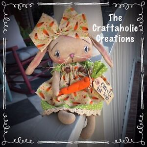 * primitive raggedy BUNNY girl doll * RABBIT with CARROT bunny Spring EASTER