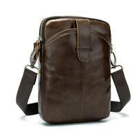 1PC Vintage Mens 100% Real Leather Messenger Bags Small Cowhide Shoulder Bag