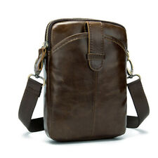 Mens Genuine Leather Messenger Bags Business Style Small Cowhide Shoulder Bags