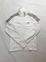 Womens Adidas Clima Cool White With Black Three Stripes Track Jacket Size 10