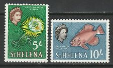 ST HELENA 1961 QEII FLOWER FISH 5/- AND 10/- MNH **