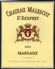 MARGAUX 3E GCC ETIQUETTE CHATEAU MALESCOT ST EXUPERY 2004  §13/11/17§