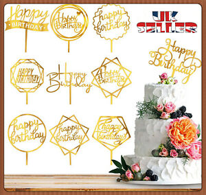 New Glitter Gold Cake Topper Birthday Party Happy Decoration Acrylic Supplies