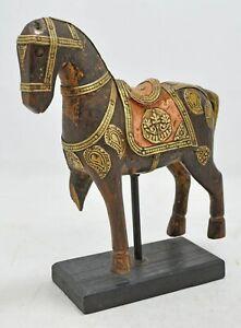 Vintage Wooden Horse Figurine Original Old Hand Carved Brass Fitted