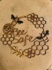 Mdf Bee Safe circle, Ready To Decorate,Laser craft