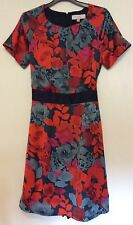Gharani Strok silky red /grey /black mix floral Dress size 12 UK