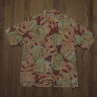 Tommy Bahama Hawaiian Shirt Mens Orange Red Green Leaves Linen Aloha Size Large