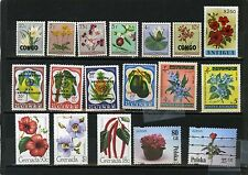 WORLDWIDE FLORA SMALL COLLECTION OF 18 STAMPS MNH