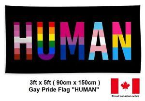 3ft x 5ft HUMAN Lesbian Gay Transgender Bi Rainbow Pride LGBT Flag / Banner