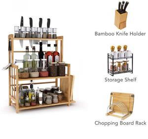 3Tier Standing Spice Rack Kitchen Countertop Storage Organizer with Knife Holder