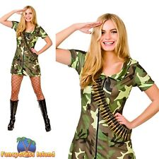 Sexy Army Girl Soldier War Dog Military Adult Womens Fancy Dress Costume