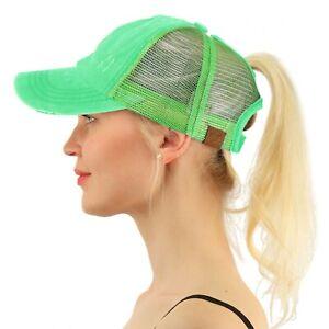 C.C Ponytail Messy Buns Ponycaps Baseball Visor Cap Dad Hat Distressed Mint