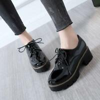 New Womens Lady Casual Chunky Heels Platform lace up ankle boots Oxfords Shoes