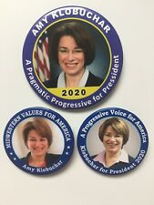 "3 2020 Senator Amy Klobuchar for President 3""+2.25"" Progressive Button Gift Set"