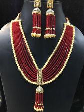 Babosa Sakhi Rani Haar Necklace Red Beads Jhumki jhumka Statement Jewelry hH075