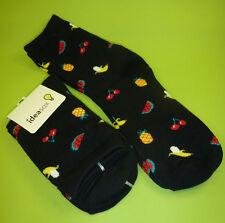2 Paar Damen Herren Kinder Socken Früchte Ananas Melone schwarz Gr. 36 - 39 NEU