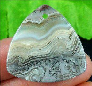N31558 28x28x5mm Natural Mexico Crazy Lace Agate Triangle Pendant Bead