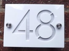 DOOR NUMBER PLAQUE MODERN ENGRAVED ACRYLIC / ALUINIUM EFFECT MODERN HOUSE SIGN