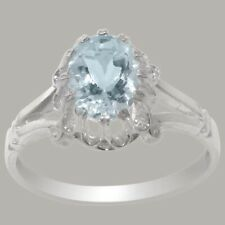 Solid 14ct White Gold Natural Emerald Womens Solitaire Ring - Sizes J to Z