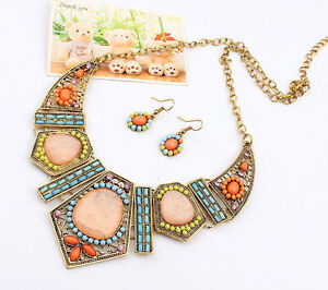 Women Mix-colour Gem Beads Chain Necklace Earring Suit Set Jewelry Accessories