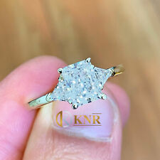 14k Yellow Gold Radiant and Trillion Forever One Moissanite Engagement Ring 2.60
