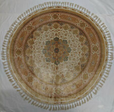 White Round 5 x 5 feet Oriental Rug 400 Knots Per Square Inch High End Art work