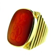 VINTAGE 14k Yellow Gold & Carved Carnelian Signet Ring