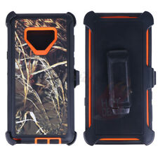 For Samsung Galaxy Note 9 Orange/G  Camo Defender Case Cover(Clip Fits OtterBox)