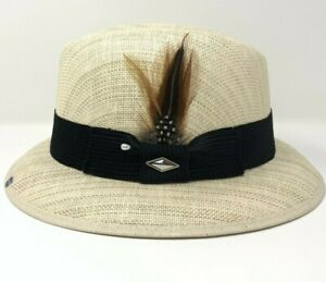 Mens Tan Lowrider Fedora Vented Straw Hat (Whittier) With Brown Feather