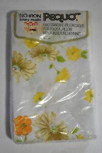 Vtg New Pequot Standard Pillowcases Luxury Muslin Floral Yellow Mountain Mist