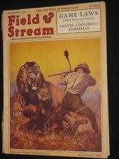 RARE FIELD & STREAM COMPLETE122 PG MAG 9/1928 LYNN BOGUE HUNT LION COVER AMMO AD
