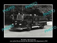 OLD LARGE HISTORIC PHOTO OF BROOKLINE MASSACHUSETTS FIRE DEPARTMENT TRUCK c1950