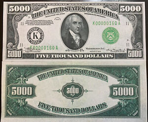 Reproduction United States 1934 $5000 Bill Federal Reserve Note Copy USA Madison