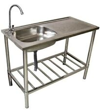 Waschtisch Waschbecken Spüle Edelstahl Tisch für Außen-/ Gartenbereich Camping