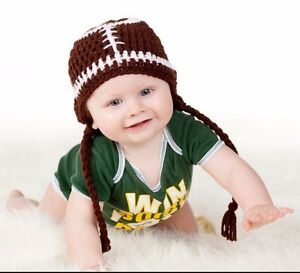 CROCHET FOOTBALL SPORTS BABY HAT knit infant toddler adult cap beanie photo prop