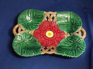 Vintage Majolica Sunflower Platter Shallow Bowl Hand Painted Majolica Wares 1996