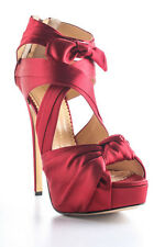 Charlotte Olympia Red Andrea Satin Knot Platform Pumps Size 39 9 New In Box
