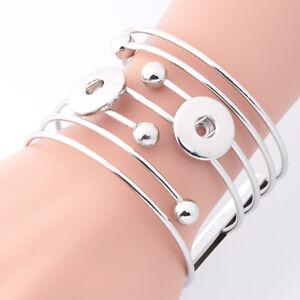 2016 Fashion1pcs Punk Metal Bangle Bracelets for Noosa Snaps Charm Button A-04