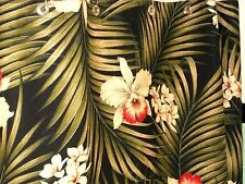 Tropical Hawaiian 100% Cotton Barkcloth Fabric SHOWER CURTAIN ~Fern-Black~