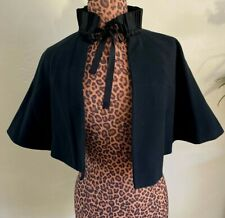 Womens Victorian Mourning Wool Beaded Cape Capelet Black Ruffle Neck Ribbon Bow