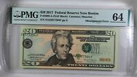 USA $20 Fr. 2099-A. 2017 Federal Reserve Note Boston PMG 64 MISALIGNMENT ERROR